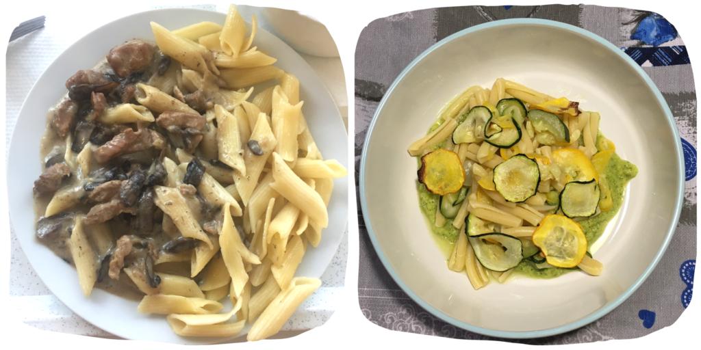 Ukázka pokrmu z těstovin po česku a po italsku.