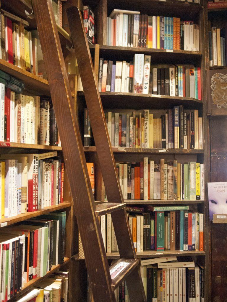 žebřík v knihovně nebo knihkupectví, opřený o regály s knihami