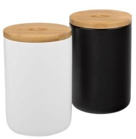 černá a bílá dóza s dřevěným víčkem