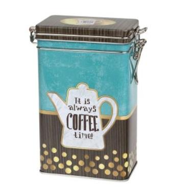 hnědomodrá kávová dóza s klipem