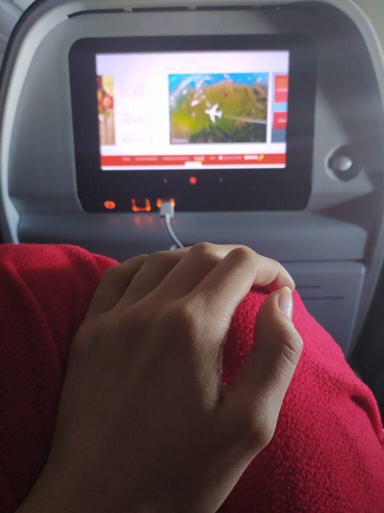 Adéla v letadle, pohled na obrazovku v sedátku
