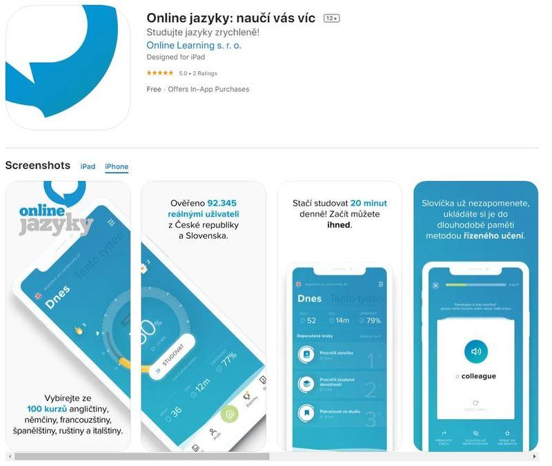 ukázka prostředí online jazyky mobilní aplikace