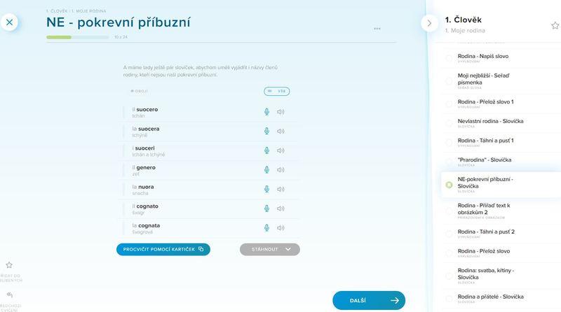 italská slovíčka a jejich učení v kurzu Online jazyky