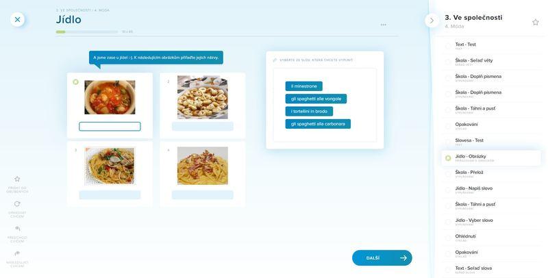 ukázka části kurzu italštiny, obrázky a přiřazování slov