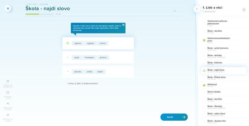 italština online se dá učit i vybíráním slov, která nepatří do skupiny