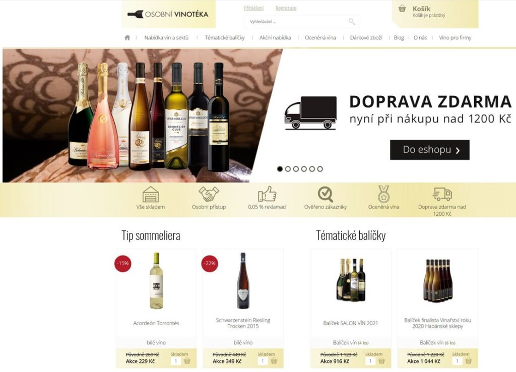 Osobní vinotéka, web prodávající dobrá italská vína