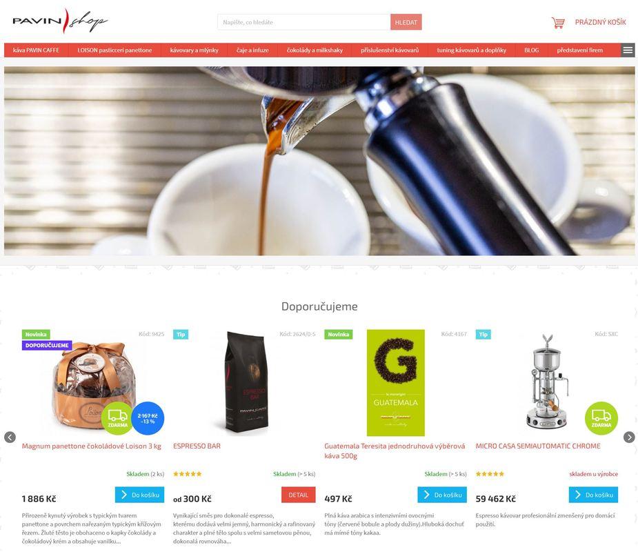 Pavinshop, e-shop, prodávající italské potraviny